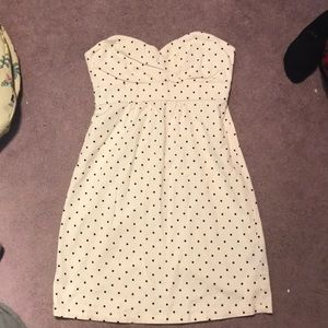 Polka dotted strapless dress